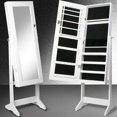 Ékszerszekrény tükörrel, tárolórekeszekkel fehér színben fából  139,5 x40,9x36,5 cm