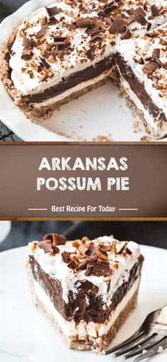 Arkansas Possum Pie is a creamy, layered chocolate and cream cheese pie in a pecan shortbread crust that is sure to please! Best Dessert Recipes, Pie Recipes, Fun Desserts, Delicious Desserts, Recipies, Healthy Recipes, Chocolate Shavings, Chocolate Pudding, Chocolate Dishes