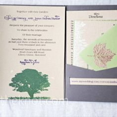 The bride made the invitations and programs herself, using wood-grain paper and a Gocco machine. She hand-stamped images of trees and maple leaves onto the paper.