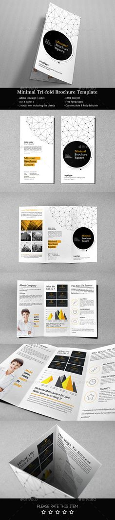 Minimal Tri-fold Brochure by AdobeRashad Brochure Indesign, Template Brochure, Design Brochure, Brochure Layout, Pamphlet Design, Leaflet Design, Booklet Design, Graphisches Design, Layout Design