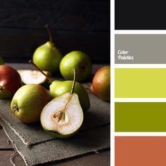 almost black color, autumn shades, bright green, colors of autumn, colors of autumn 2017, cyan-black, dull green, gray, olive color, pear color, reddish-brown color, saturated gray, shades of light-green.