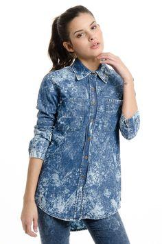 Camisa de Jean Grace - Azul Nevado en DeluxeBuys!