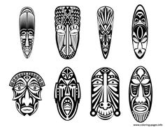 Print adult 12 african masks coloring pages