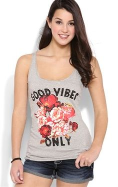 Deb Shops Racerback Tank Top with Floral Good Vibes Only Screen $10.00