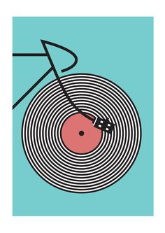 High quality art print inspired by cycling and music. For vinyl record and bike lovers. Track Cyclist print by Rebecca J Kaye.Size: - x Material: acid free archival paper with a small white border Frame: Acrylic & wood Velo Shop, Anjou Velo Vintage, Pop Art, Bike Poster, Bike Parking, Bicycle Art, Cycling Art, Illustrations, Vinyl Art