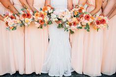 peach and coral wedding flowers - Hammersky Vineyards wedding