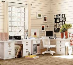 Looking for home office ideas that will inspire productivity and creativity? Discover 65 stunning home office design ideas that make will make work fun. Home Office Space, Small Office, Home Office Design, Home Office Decor, Home Decor, White Office, Cozy Office, Shared Office, Office Set