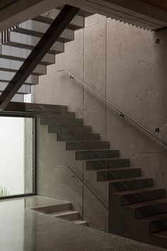 The staircase is made from perforated steel plate. Steel Stairs, Steel Plate, Best Cities, Stairways, House Tours, Cabins, New Zealand, Homes, Architecture