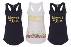 Bride Tribe - Mermaid Bride - Bride Tribe Tank top - Bachelorette Party - Girls Night Out  - Bachelorette Tanks - Bachelorette Party Favors by LancyCarolinaCo on Etsy https://www.etsy.com/listing/450665962/bride-tribe-mermaid-bride-bride-tribe