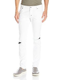 JUST CAVALLI Just Cavalli Men'S White Denim With Faux Leather Patches. #justcavalli #cloth #