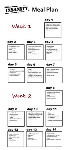 Weeks 1 and 2 of INSANITY meal plan. Wish I'd thought to do this the first time through.