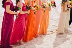 ombre rainbow bridesmaid dresses would have to be the same style of dress and very subtle differences in each subsequent color for me to do this Rainbow Bridesmaid Dresses, Bridesmade Dresses, Bridesmaid Dress Colors, Wedding Bridesmaid Dresses, Orange Wedding Dresses, Orange Bridesmaids, Orange And Pink Wedding, Beach Bridesmaids, Coral Dress