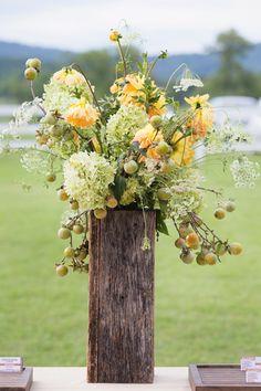 crabapple, Queen Anne's lace, dahlias, hydangeas, wedding flowers