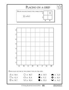 3rd grade, 4th grade, 5th grade Math Worksheets: Coloring a grid #1 ...