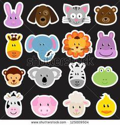 Vector Zoo Animal Sticker Collection - stock vector