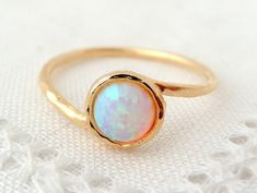 SALE White Opal ring Gemstone ring Gold ring by EldorTinaJewelry so pretty!