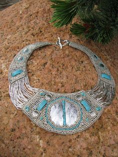 Bead emboidery turquoise and silver collar