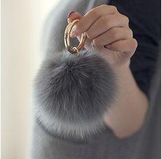 Real Fur Ball Keychain Pom Pom Fluff Ball Key chain by JTTWest