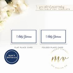 Gold Calligraphy Place Card Escort Card Template, 2x3.5, editable ...