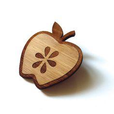 Fresh Apple  Bamboo  Wood Brooch  Wood Pin  Laser Cut by Cabin,