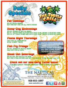 #DailySpecials at The Nautical Beachfront Resort! Enjoy Fat Tuesdays - Hump Day - Fiesta Night & much more! #LakeHavasu