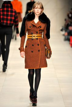 Burberry Prorsum leather bound wool tweed trench coat with fur shoulder  panels Fashion Tights 6a78cbee2d46