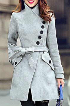 Elegant Women's Stand Collar Candy Color Belt Design Long Sleeve Coat #coatswomen