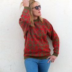 Vintage Red Plaid Sweater Tartan 80s Unixes / Wool Sweater Knit Red and Green / Print Geometric Check / Cosby Sweater Hipster / Size M By RebecaVintageShop on Etsy