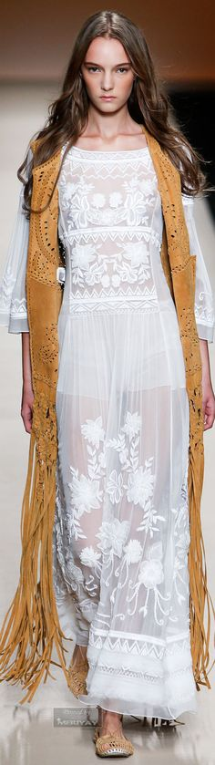 Alberta Ferretti. Spring-summer 2015. Designer Boho. 1970's style. The suede brown fringe, lace and flats add a boho vibe.