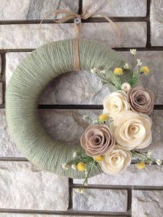 Yarn Wreath Handmade Felt Decoration  12 Sage Green by SasiRose: