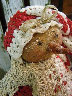 PRIMITIVE SNOWMAN DOLL OLD LINENS RHINESTONE BUTTONS TOY TIN PLATE FOLK ART