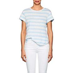 FRAME Women's Striped Linen T-Shirt ($95) ❤ liked on Polyvore featuring tops, t-shirts, blue, linen t shirt, blue t shirt, crewneck tee, jersey t shirt and crew-neck tee