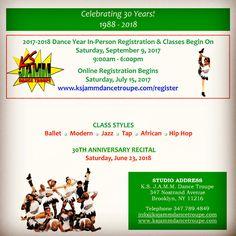 30th Anniversary Dance Year 2017-2018 Begins on Saturday, September 9, 2017 #ksjamm #ksjammdance #ksjammdancetroupe #dancestudio #dance #dancersoninstagram #dancelife #blackgirlsdoballet #blackboysdancetoo #dancers #ballet #modern #tap #jazz #african #hiphop #bedstuy