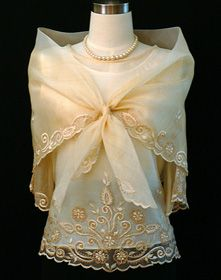An ideal formal blouse for mother of the bride, black tie or other special occasions. The kimona style is fully covered in embroidery with a matching panuelo giving this style a touch of real elegance. Modern Filipiniana Gown, Filipiniana Wedding, Wedding Gowns, Formal Blouses, Formal Tops, Barong Tagalog, Alta Moda Bridal, Line Shopping, Embroidered Blouse