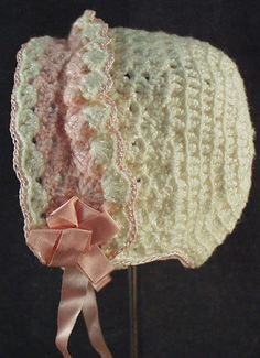 Image detail for -Vintage Crocheted Baby Bonnet with Pink Trim from ogees on Ruby Lane Crochet Baby Bonnet, Crochet Bebe, Crochet For Kids, Knit Crochet, Crochet Hats, Baby Patterns, Knitting Patterns, Crochet Patterns, Vintage Baby Clothes