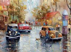 "RAINY DAY - Oil Acrylic Original Giclee On Canvas By Dmitry Spiros. 32"" x 24"" #Impressionism"