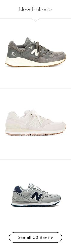 """""""New balance"""" by petitaprenent ❤ liked on Polyvore featuring shoes, sneakers, grey, new balance sneakers, leather footwear, leather shoes, grey shoes, grey leather shoes, new balance trainers and flats sneakers"""