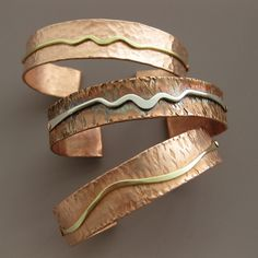 Metal Jewelry Hammered Copper Cuff Bracelets by Katie Mullins. Copper Cuff, Copper Bracelet, Metal Bracelets, Jewelry Bracelets, Hammered Copper, Geek Jewelry, Bangles, Clean Gold Jewelry, Brass Jewelry