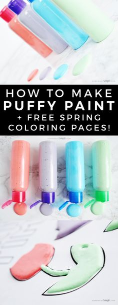 How To make Puffy Paint Free Spring Coloring Pages! Using just a few supplies you have laying around the house, kids will love making their own puffy paint and using them with our fun spring coloring pages!