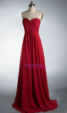 Cheap Prom dress Red prom dresses long bridesmaid by TinnaDress
