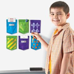 Solids And Patterns Whiteboard Magnetic Storage Pockets Set Of 6