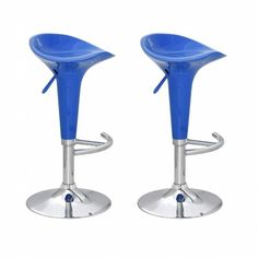 Blue Breakfast Bar Stools Kitchen Home High Chair Set Gas Lift Swivel Plastic
