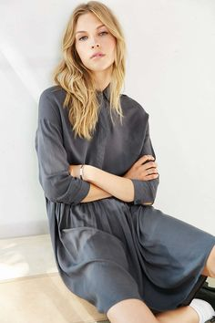 Silence + Noise High/Low Midi Shirtdress - Urban Outfitters