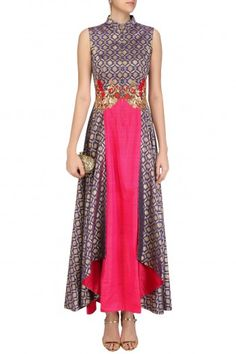 Rishi & Soujit Persian Blue and Fuschia Pink Folded Layer Tunic #Rishi&Soujit#ethnic#shopnow #ppus #happyshopping