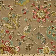 Robert Allen Spring Mix Linen Blend Pomegranite - Discount Designer Fabric - Fabric.com