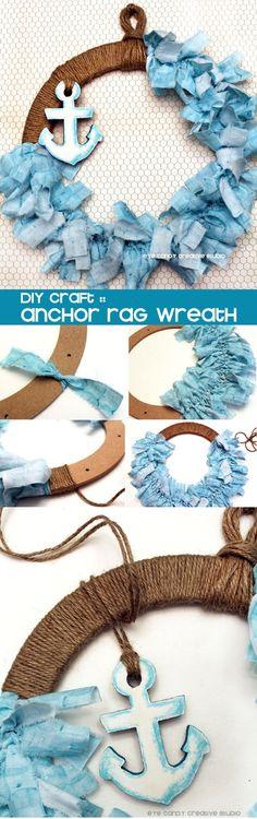 Nautical rag wreath DIY @eyecandycreate #ragwreath #nauticalwreath #beachwreath
