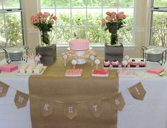 pink and burlap baby shower | Kelis baby girl shower - burlap, lace and pearls