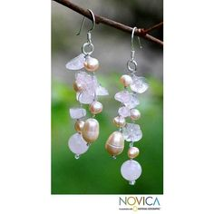 NOVICA Pearl and Rose Quartz Dangle Earrings (€18) ❤ liked on Polyvore featuring jewelry, earrings, pearl, waterfall, long pearl earrings, rose jewelry, knot jewelry, novica earrings and long earrings