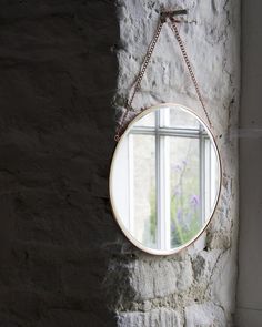 mirrordeco.com — Hanging Mirror on Chain - Round Copper Frame Dia:31cm