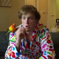 When yo main pet sees you on TV with yo side pet (w/ Maverick the Parrot)